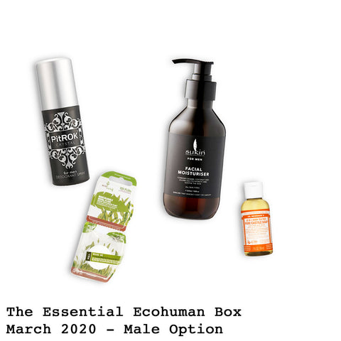 The Essential Ecohuman Monthly Subscription Box. Always vegan and cruelty free. March 2020 past box
