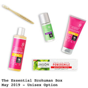 The Essential Ecohuman Prepaid Monthly Subscription Box. Always vegan and cruelty free. May 2019 past box