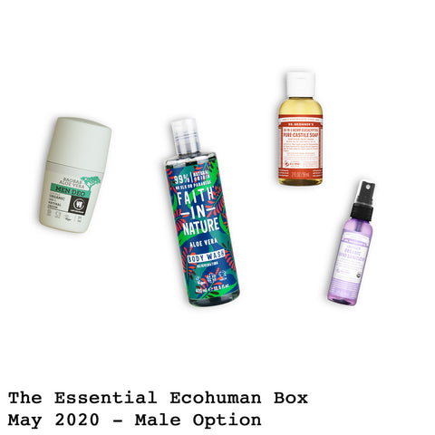 The Essential Ecohuman Monthly Subscription Box. Always vegan and cruelty free. May 2020 past box