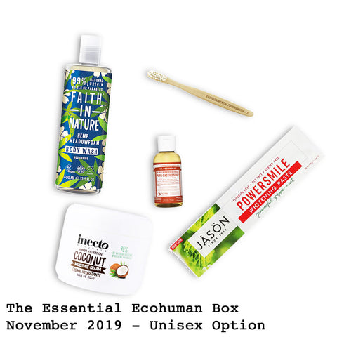 The Essential Ecohuman Monthly Subscription Box. Always vegan and cruelty free. November 2019 past box