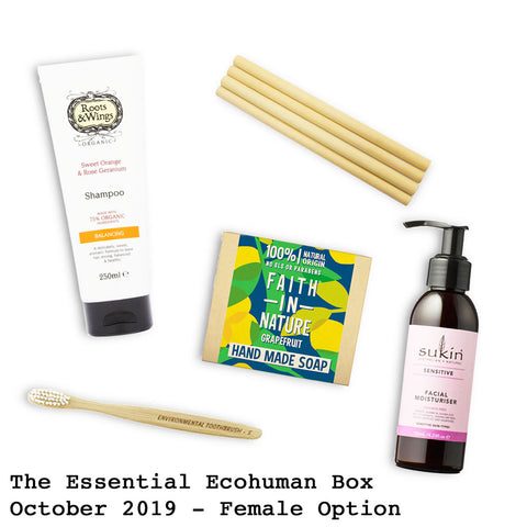 The Essential Ecohuman Prepaid Monthly Subscription Box. Always vegan and cruelty free. October 2019 past box