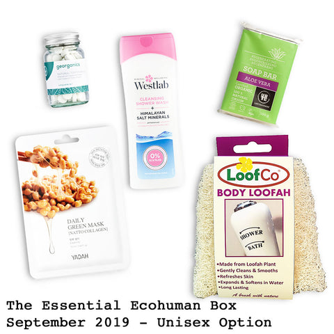The Essential Ecohuman Prepaid Monthly Subscription Box. Always vegan and cruelty free. September 2019 past box