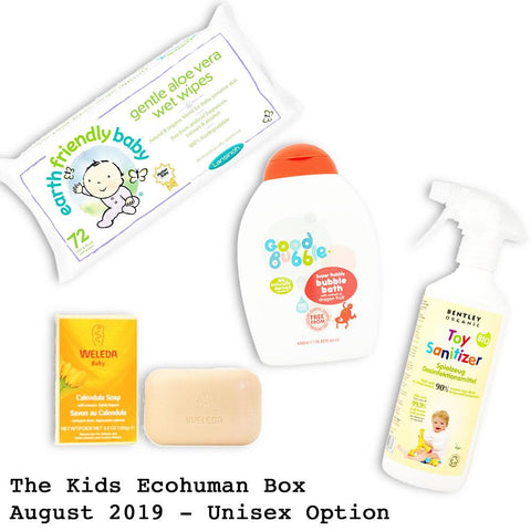 Kids Ecohuman Monthly Subscription Box. Always vegan and cruelty free. August 2019