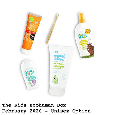 The Kids Ecohuman Monthly Subscription Box . Always vegan and cruelty free. February 2020 past box