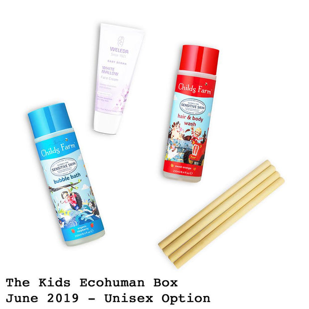 The Kids Ecohuman Monthly Subscription Box. Always vegan and cruelty free. June 2019 past box