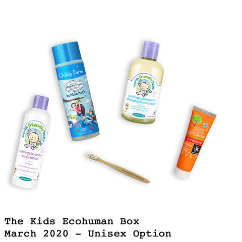 The Kids Ecohuman Monthly Subscription Box . Always vegan and cruelty free. March 2020 past box