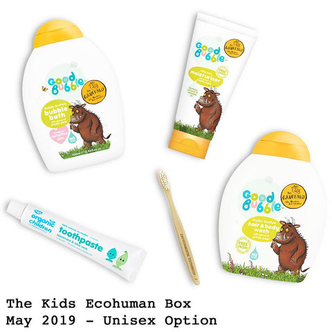 The Kids Ecohuman Monthly Subscription Box. Always vegan and cruelty free. May 2019 past box