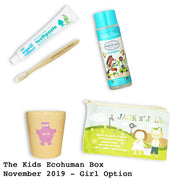Kids Ecohuman Monthly Subscription Box. Always vegan and cruelty free. Past Box November 2019