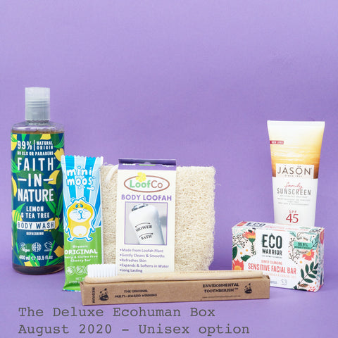 The Deluxe Ecohuman Monthly Subscription Box. Always vegan and cruelty free. August 2020 past box