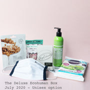 The Deluxe Ecohuman Monthly Subscription Box. Always vegan and cruelty free. July 2020 past box