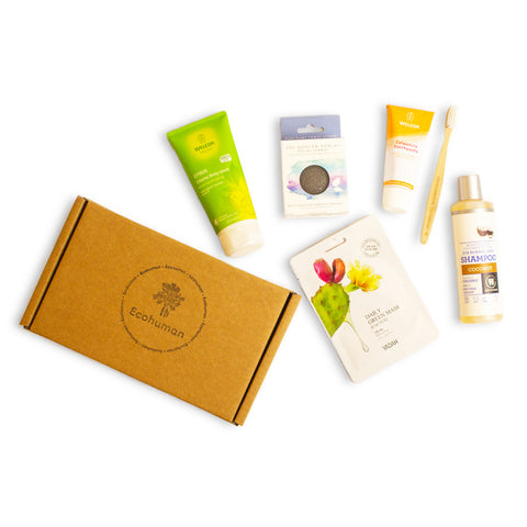 The Deluxe Ecohuman Prepaid Monthly Subscription Box. Always vegan and cruelty free.