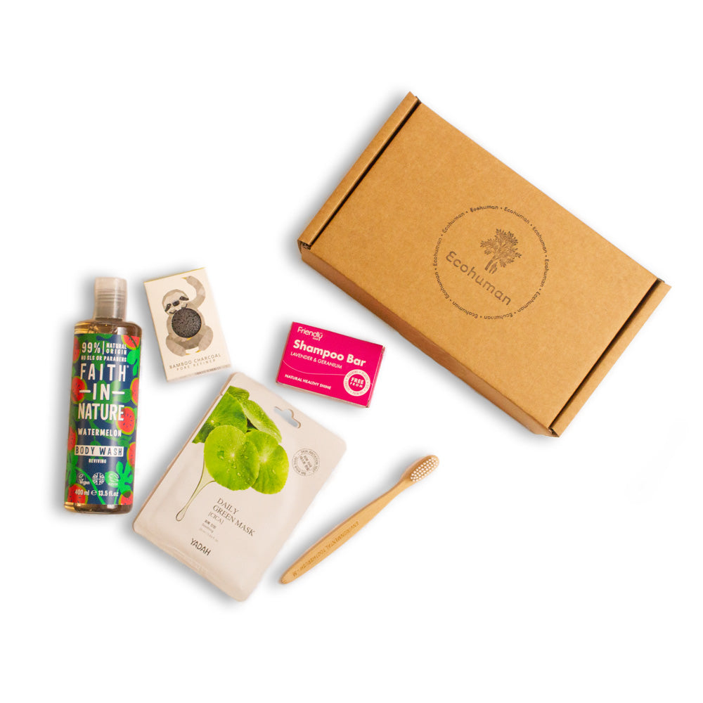 The Essential Ecohuman Monthly Subscription Box. Always vegan and cruelty free.