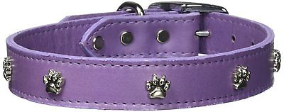 Omnipet Signature Leather Dog Collar With Paw Ornaments, Lavende