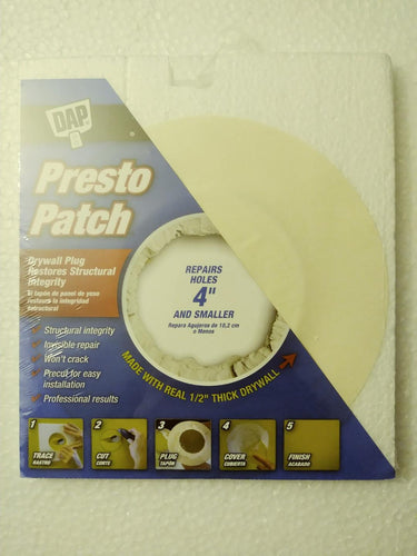 DAP Presto Patch Kit - For drywall up to 4 inch holes - .5in Thick
