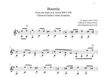 Load image into Gallery viewer, Bourrée by J.S. Bach BWV 996