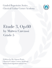 Load image into Gallery viewer, Etude 3, Op.60 by Matteo Carcassi