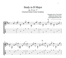 Load image into Gallery viewer, Study in D major Op.35 no.17 TAB by Fernando Sor