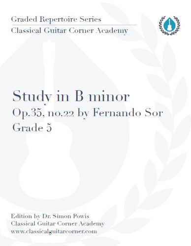 Study in B minor Op.35 no.22 by Fernando Sor TAB