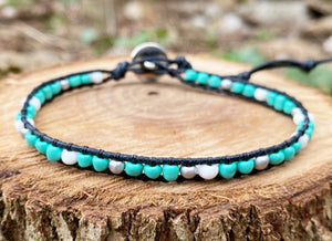 Anklet - Turquoise & White/Silver (Black)