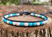 Load image into Gallery viewer, Anklet - Turquoise/White Howlite (Black)