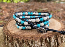 Load image into Gallery viewer, 3x Wrap - Turquoise/White Howlite & Silver