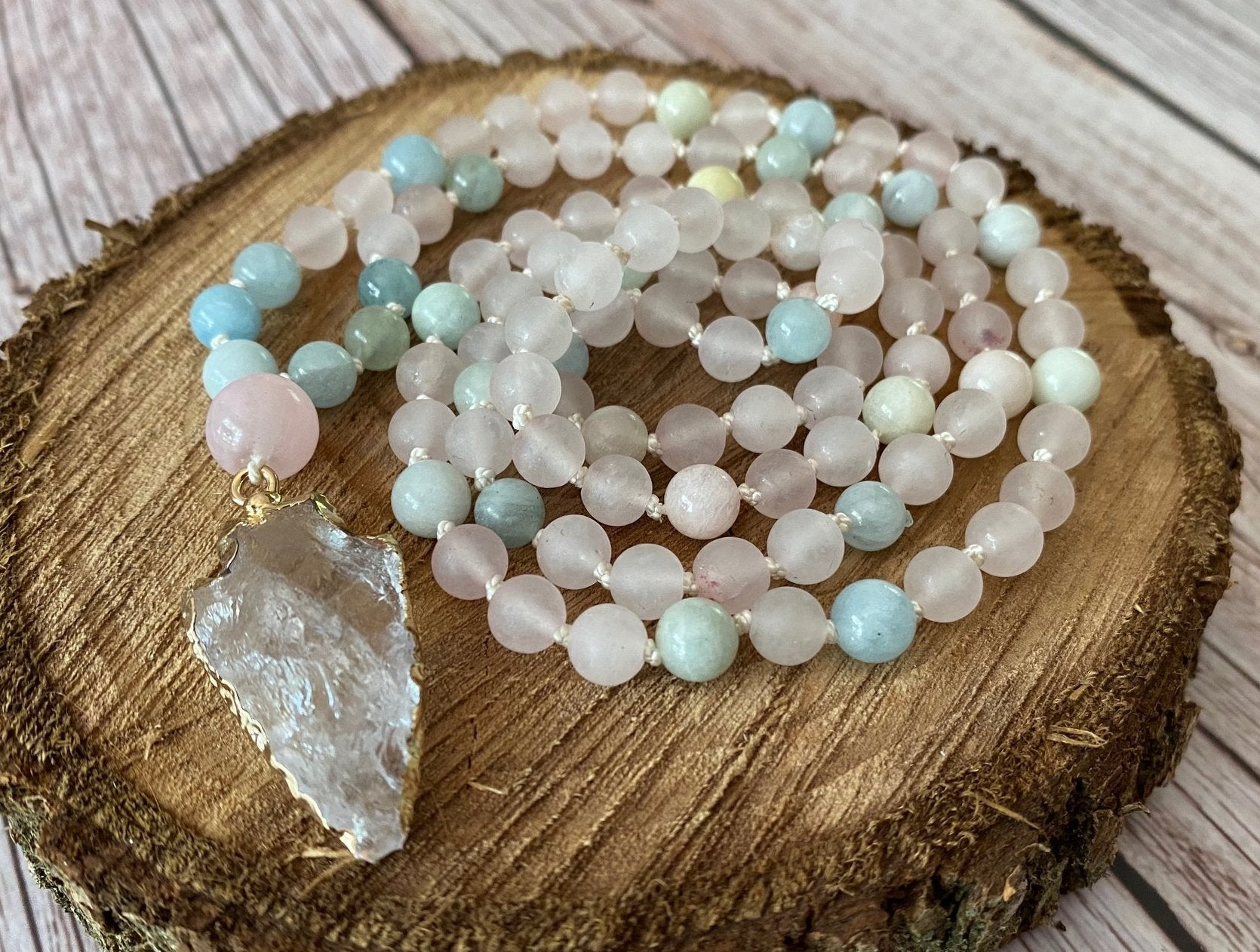 Mala Druzy Quartz 108 Bead Necklace - Matte Rose Quartz