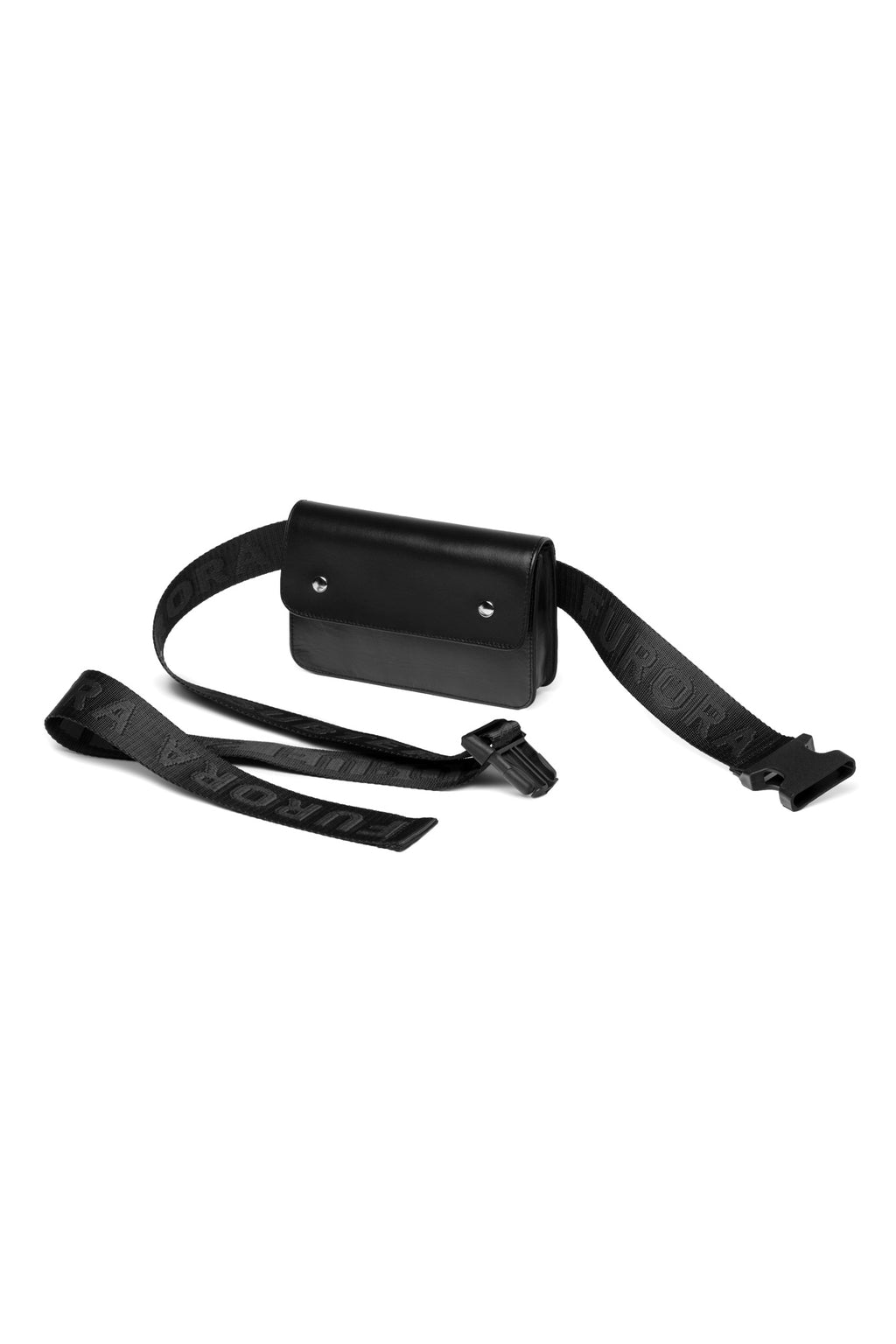 BLACK LEATHER BAG WITH BLACK FURORA BELT