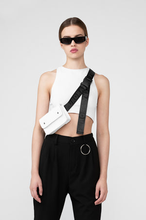 WHITE CROCODILE BAG WITH BLACK FURORA BELT