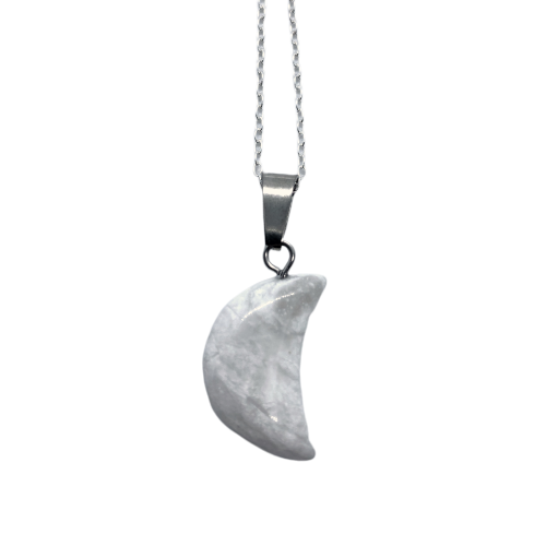 Howlite Crescent Moon Necklace Necklace - Hekatos Healing Crystals and Spirituality Supplies