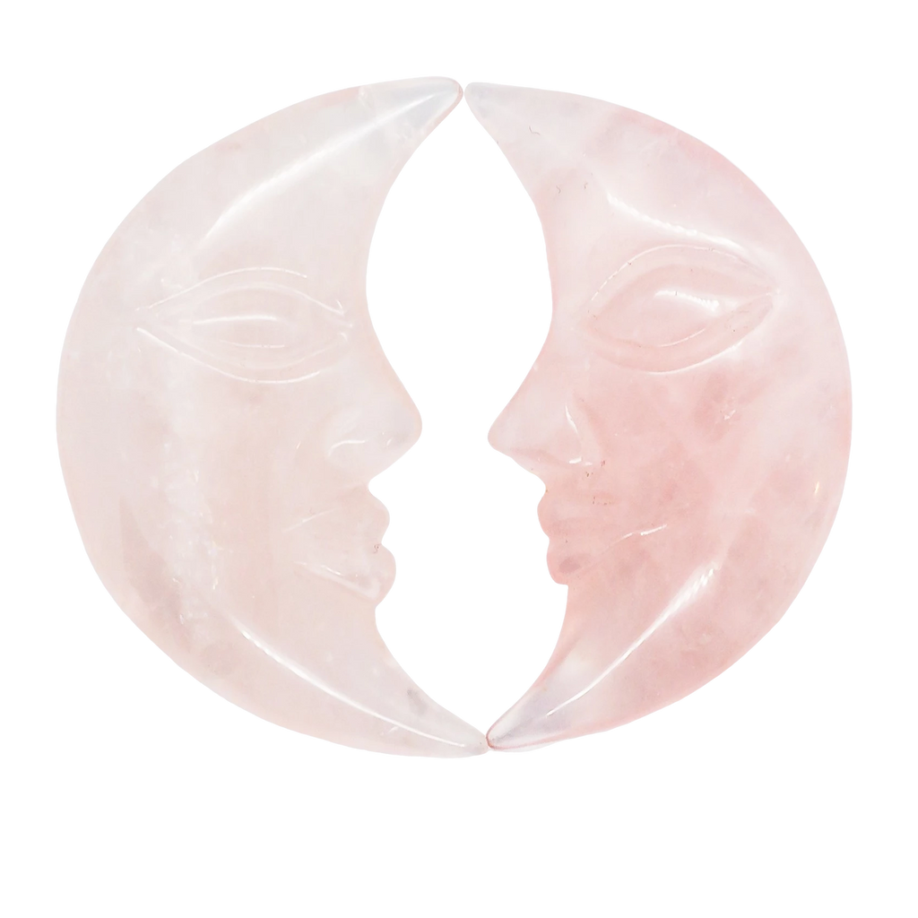 Rose Quartz Crescent Moon Carved Crystal - Hekatos Healing Crystals and Spirituality Supplies