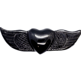 Black Obsidian Winged Heart Carved Crystal - Hekatos Healing Crystals and Spirituality Supplies