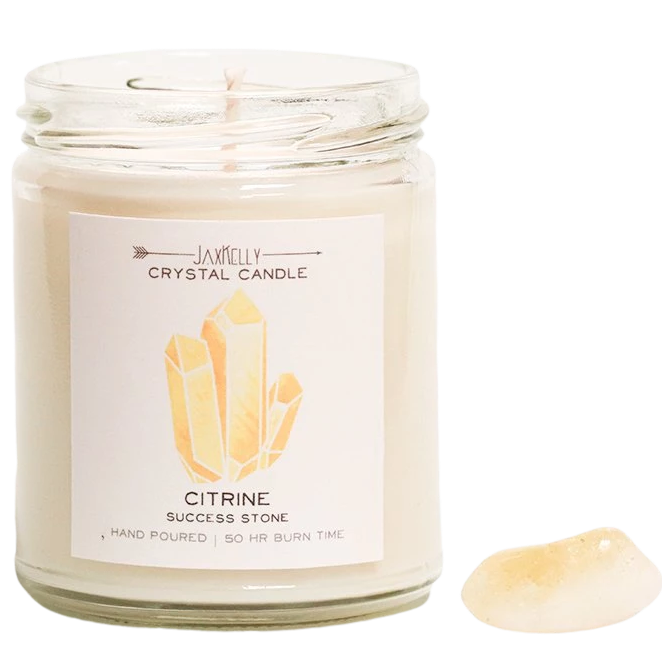 Citrine Crystal Candle - Positivity + Success Candle - Hekatos Healing Crystals and Spirituality Supplies