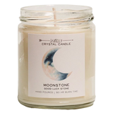 Moonstone Crystal Candle - Good Luck + Moon Energy Candle - Hekatos Healing Crystals and Spirituality Supplies