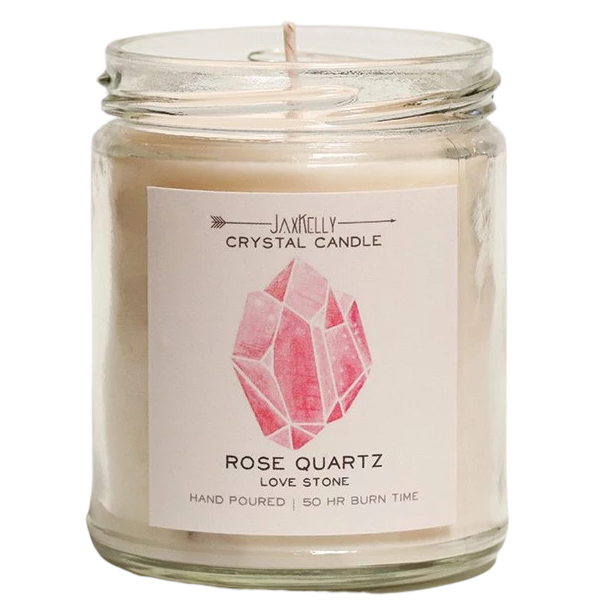 Rose Quartz Crystal Candle - Love Candle - Hekatos Healing Crystals and Spirituality Supplies