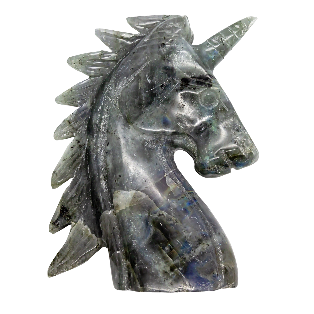 Labradorite Unicorn (Large) Carved Crystal - Hekatos Healing Crystals and Spirituality Supplies