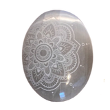 Selenite Mandala Engraved Palm Stone