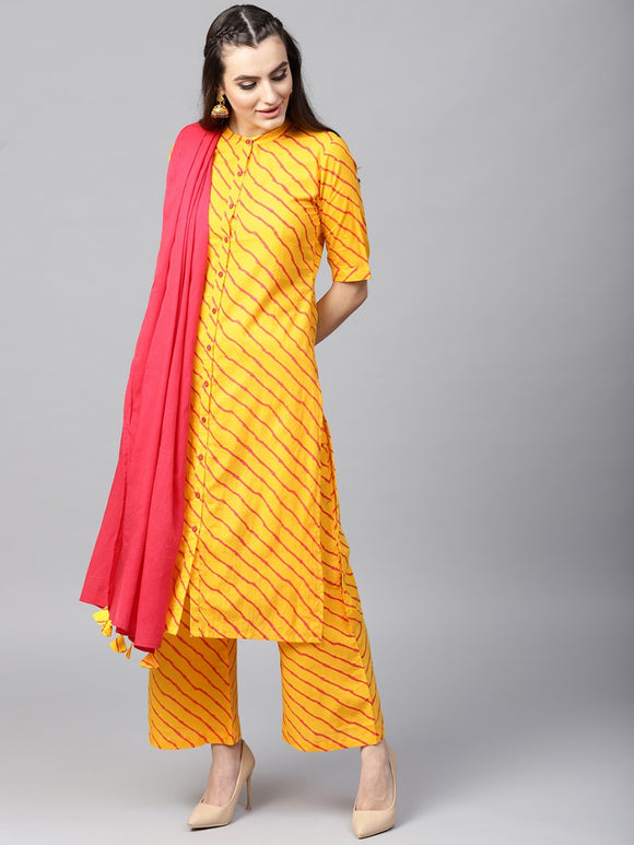 SIGNATURE KESAVI YELLOW KURTA WITH PALAZZO SET