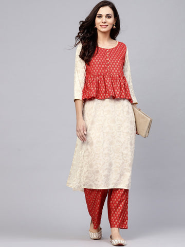 White & Red Gold Printed Straight Kurta With Palazzo Set
