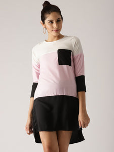 Signature Kesavi pink white and black colour block dress