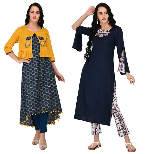 Combo Rayon Straight Kurta Without Pant with Cotton kurta and Embroided Jacket