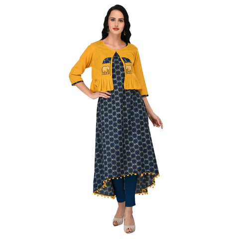 Signature Kesavi Cotton kurta With Appliq Work Embroided Jacket