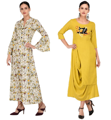 Combo Cotton Bias Cut Kurta with Mustard Rayon Flare Embroided Kurta