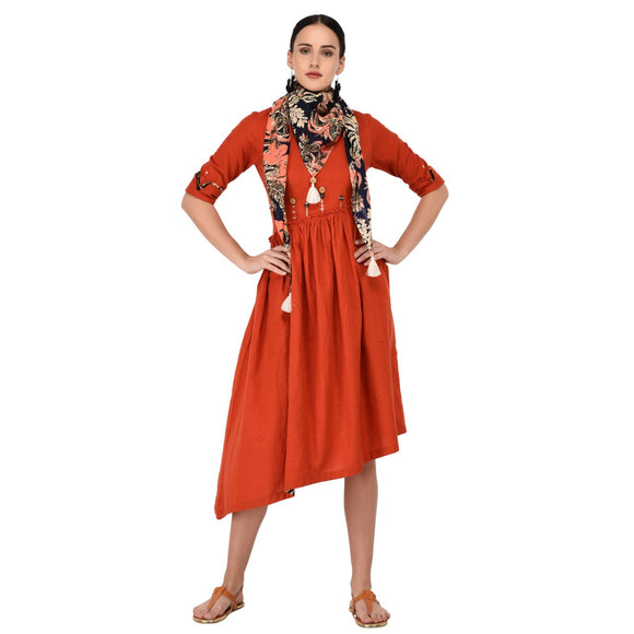 Signature Kesavi cotton flax kurta with hand work scarf