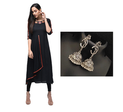 Combo Black Rayon Embroidered Kurta With Oxidised Devotional Om Silver Trishul Earrings