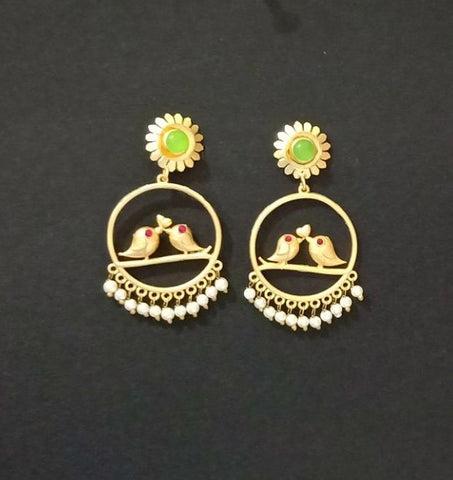 Designer Birds Earrings With Golden Work and Pearl