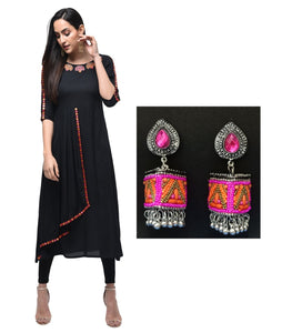 Combo Black Rayon Embroidered Kurta With Designer pink orange jhumka