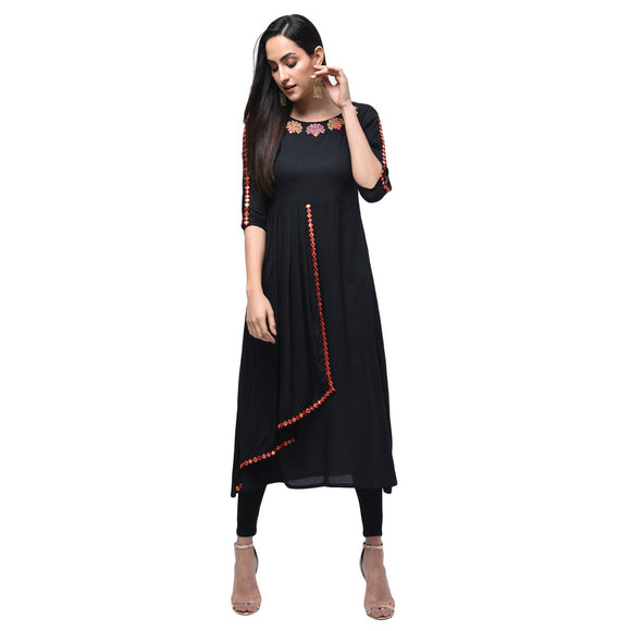Signature Kesavi Black Rayon Embroidered Kurta