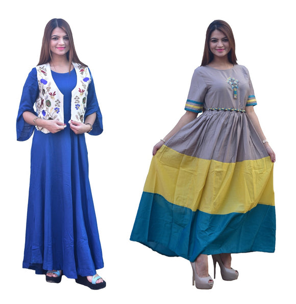 Combo Silk Kurti and Blue kurti with jacket