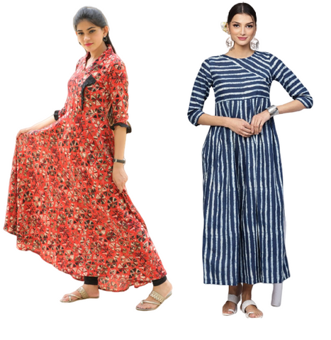 Signature Kesavi Rayon Printed Floor Length Kurti and Blue & White printed Kurtii Combo Kurti (Pack of 2)