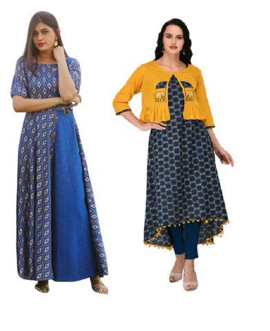 Signature Kesavi Cotton Golden Printed kurta and kurta with Appliq Work Jacket Combo Kurti (Pack of 2)
